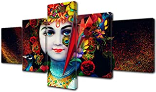 Indian Paintings Sri Krishna Wall Art Radha Pictures 5 Piece Canvas Hindu God Artwork Framed Wall Art for Bedroom Modern Home Decorations Giclee Gallery Wrapped Stretched Ready to Hang(50''Wx24''H)