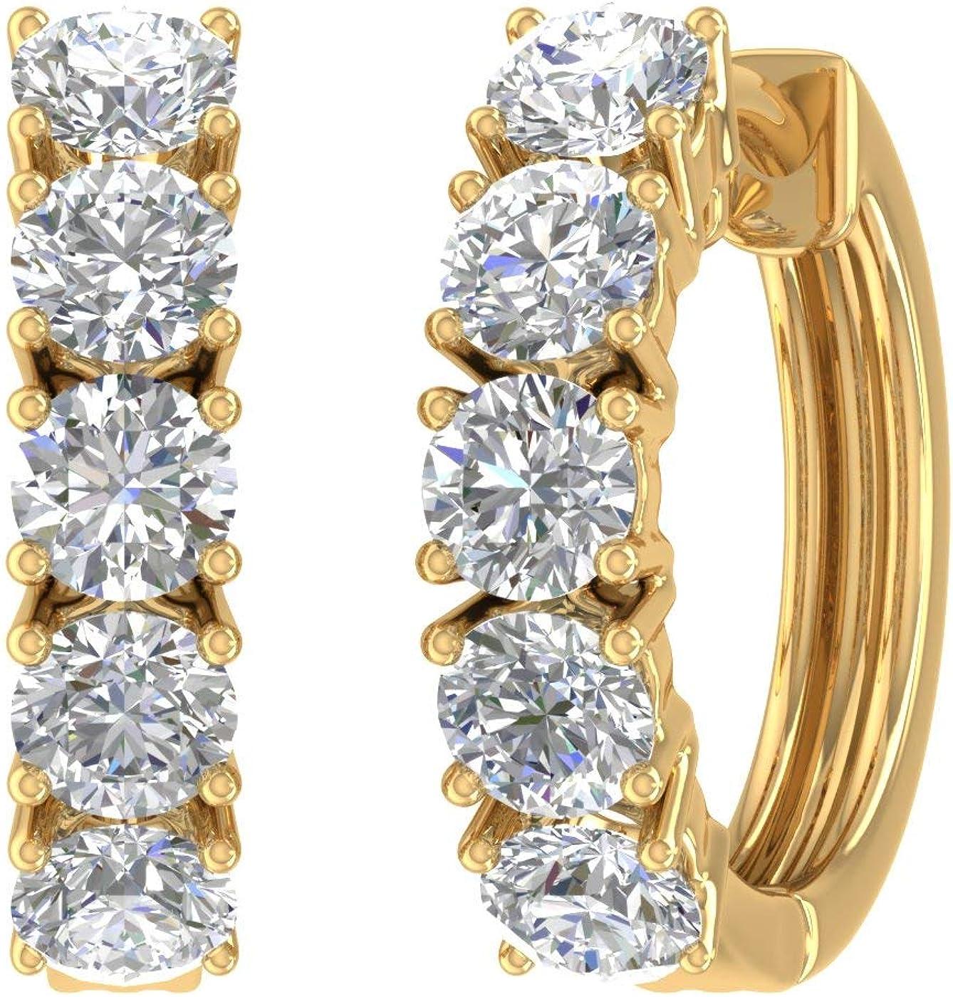 1 Houston Mall Carat to 5 14K Gold H Popular standard Ladies Round Diamond White Huggies