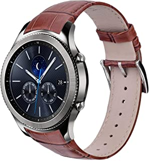 V-Moro Brown Band Compatible with Galaxy Watch 46mm Bands 22MM Genuine Leather Crocodile Pattern Replacement for Samsung Gear S3 Classic / S3 Frontier Smartwatch