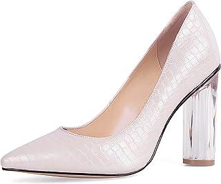 أحذية SOPHITINA جولة واضحة عالية الكعب النساء مضخات مثير وأشار تو اللؤلؤ تألق الجلد مضخات حزب الزفاف اللباس