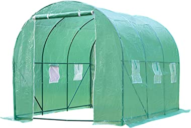 FDW Greenhouse for Outdoors Greenhouse Walk-in Green House L10'xW7'xH7' Plastic Mini Greenhouse Kit Indoor Portab
