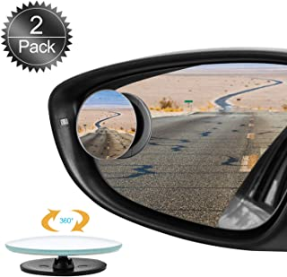 Oumers Blind Spot Mirrors for Cars, 2Pack 360°HD Glass Rotatable Waterproof Frameless Convex Rear View Mirror Side Mirror ...