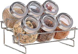 مجموعة زجاجية بهارات مع رف تخزين حديدي بطبقتين للمنزل والمطبخ