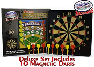 Matty's Toy Stop Deluxe 2-in-1 Reversible Magnetic Dartboard (Dart Board) with 10 Darts, Featuring Standard Darts & Baseball Games Exclusive (Renewed)