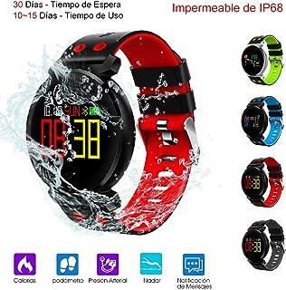 comprar comparacion Smart Watch, Reloj Inteligente de Pulsera Mu?eca Impermeable de IP68 Deportivo Bluetooth 4.0 Uso de 10-15 D¨ªas con Pantal...