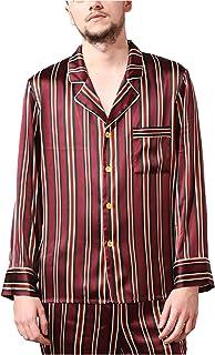 LZJDS Men's Silk Pajamas Striped Nightshirts Sleepwear Two-Piece Long-Sleeved Trousers Pjs Set,wine red,S
