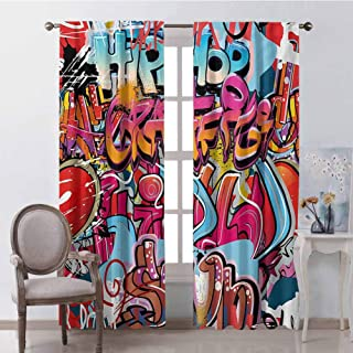 GUUVOR Graphic Heat Insulation Curtain Hip Hop Street Culture Harlem New York City Wall Graffiti Art Spray Artwork Image for Living Room or Bedroom W52 x L45 Inch Multicolor