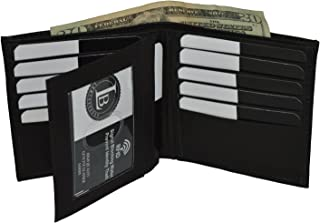 Leatherboss Genuine Leather RFID protected Hipster Wallet with Flap, Black