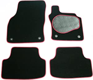 Vauxhall Mokka  2012 Onwards  Fully Tailored Black Carpet with Red Black Trim Car Mats with Rubber Heel Pad