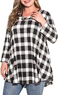 Sponsored Ad - MONNURO Womens Plus Size 3/4 Sleeve V Neck Button Casual Loose Flowy Swing Tunic Tops Basic Tee Shirts for ...