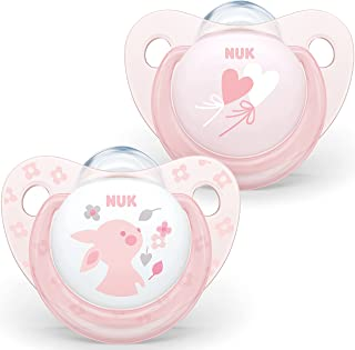 NUK Trendline Silicone Soother, Baby Rose, Pack of 2