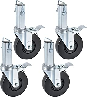 BestEquip 4 Pack 5 Inch Scaffolding Rubber Swivel Caster with Dual Locking Heavy Duty Casters 1 Inch Square Stem 440LBS Capacity Per Wheel