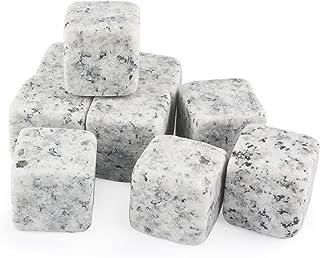 Grenhaven 9er Set Whisky-Steine in Granitsteinoptik aus natürlichem Speckstein- Kühlsteine mit praktischen Stoffbeutel
