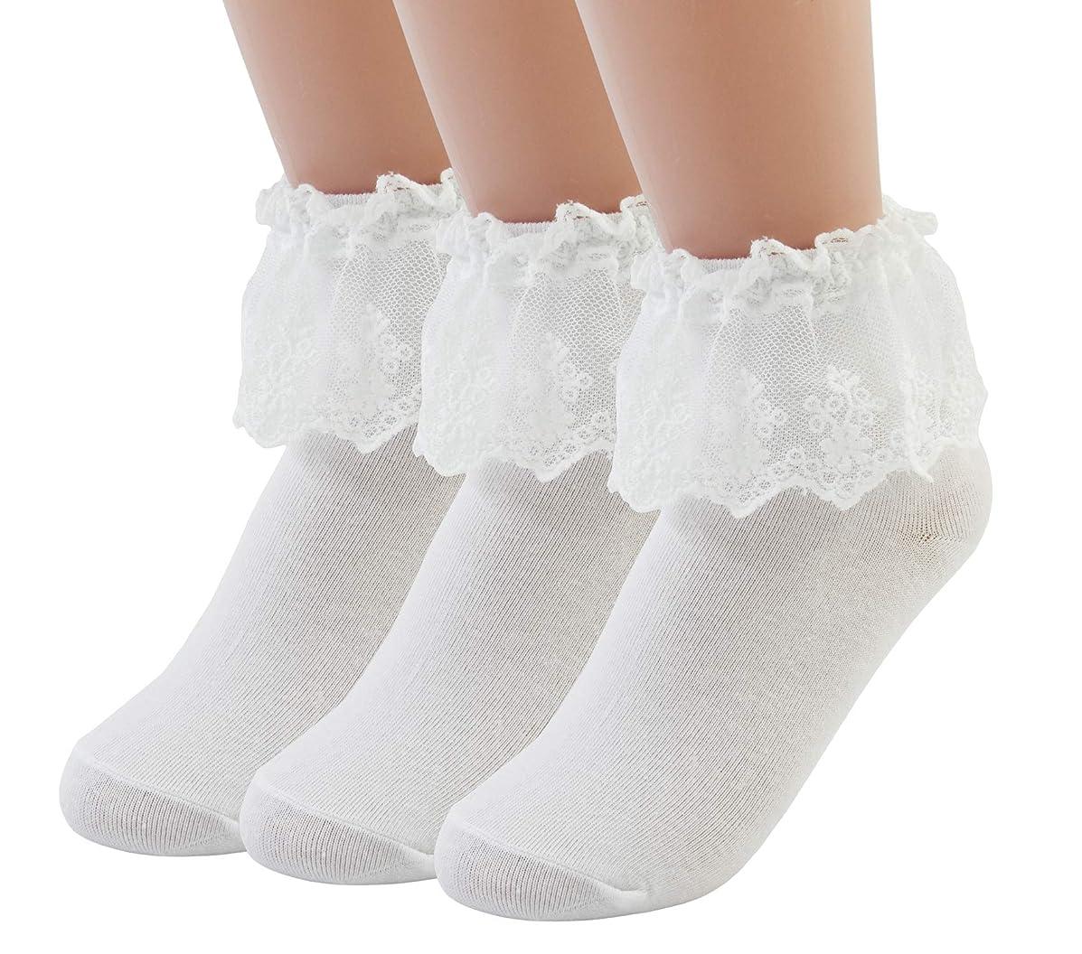 VIVIKI Women Lace Frilly Ruffle Socks Ankle Socks, Cotton Socks 3-Pack 7101