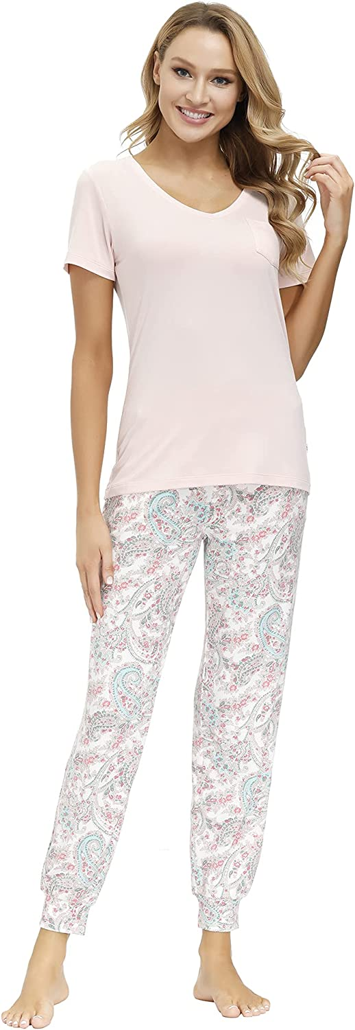 ECHO Women's Lounge Set-Knit Short Sleeve V-Neck Tee and Long Pant W/Pockets, Casual Sleepwear, Soft, Breathable Sweatsuit