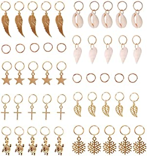JIALEEY Hair Braid Rings, 50PCS Hair Loops Clips Gold Ring Shell Leaves Star Conch Snowflake Pendant Charms Set Hair Clip Headband Accessories