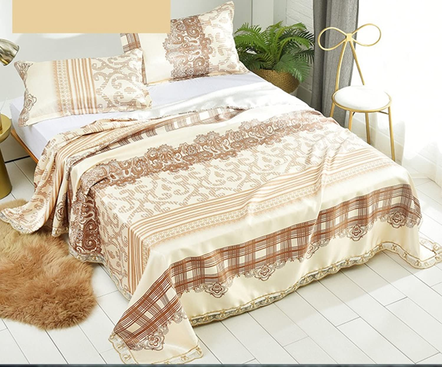 Ice Silk Mat Three Washable Lace Section Summer Mat Soft Quilt Cover ZXCV (color   Beige, Size   240  250cm)