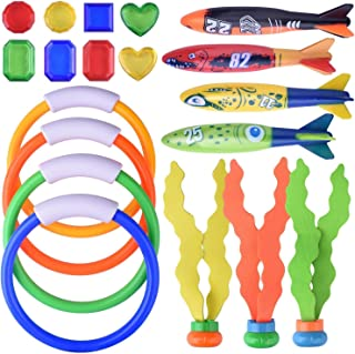 Diving Toys for Pool for Kids - Hamkaw 19 pcs Dive Underwater Toys Swimming Pool Toy Gift Set - Diving Rings - Diving Torp...