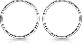 Amberta® 925 Sterling Silver Fine Circle Endless Hoops - Polished Round Sleeper Earrings Diameter Size: 20 30 40 60 80 mm