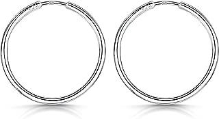 Amberta 925 Sterling Silver Fine Circle Endless Hoops - Polished Round Sleeper Earrings