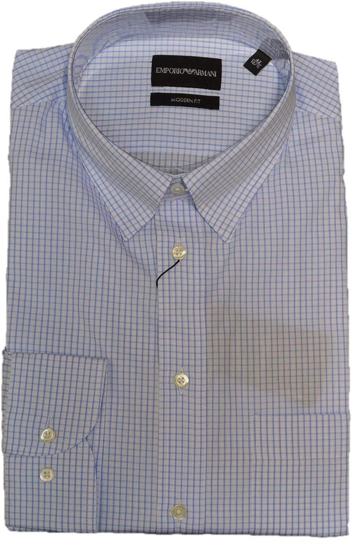 Emporio Armani Check Shirt Size 43, 17 inches White, Light Blue