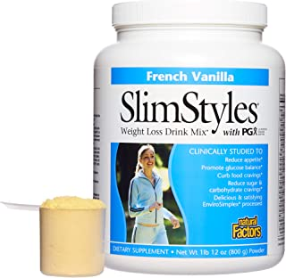 PGX by Natural Factors, SlimStyles Drink Mix, Supports Healthy Weight Management and Helps Reduce Appetite, French Vanilla, 28 oz (13 servings)