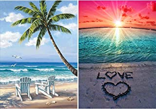 Ginfonr 2 Pack 5D DIY Diamond Painting Lover Beach for Adults Full Drill by Number Kits, Ginfonr Paint with Diamonds Art Embroidery Rhinestone Crystal Cross Stitch Decor (12 x 16 inch)