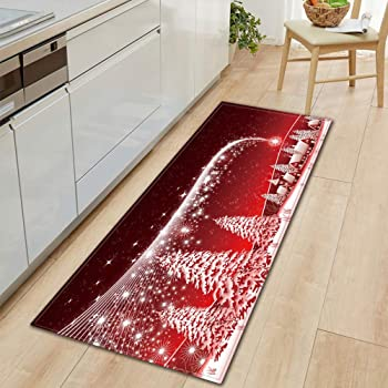 Weehey Alfombra Antideslizante Estilo de Navidad Decoración del Hogar Sala de Estar Cocina Dormitorio Alfombra Puerta Sofá Alfombra de Baño Felpudo de Navidad