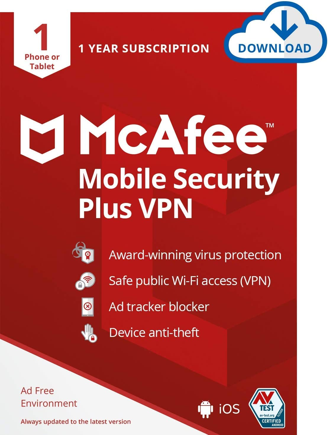McAfee Mobile Security Plus VPN 2021 Tablet Antivir Cheap mail order shopping shopping 1 Phone or