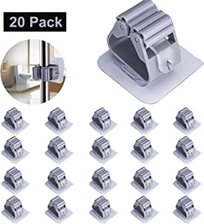 JYW Mop Broom Holder, Bathroom Storage Organizer Hanger Rack, Self Adhesive Mop Hanger for Bathroom Garage Kitchen, Wall Mounted (20 Pack)