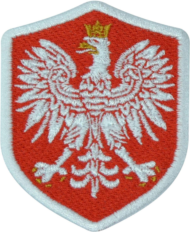 Benobler Fanshirts4u Aufnäher Polen Wappen 7 X 5 6cm Bestickt Flagge Patch Badge Fahne Polska Rote Umrandung Küche Haushalt