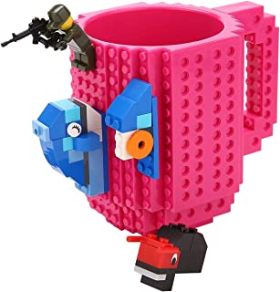 Brick Mug [Updated Version] Fubarbar 12 oz Build-on Coffee Cups Funny Tea Mug Beverage Cup Puzzle Mug Building Bricks enjoy Creative DIY Building Blocks (Rose) …