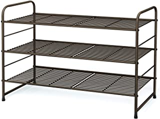 Simple Trending 3-Tier Stackable Shoe Rack, Expandable & Adjustable Shoe Shelf Storage Organizer, Wire Grid, Bronze, Metal...