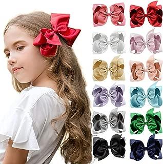 DEEKA Glitter Grosgrain Ribbon Hair Bow Alligator Clips for Little Girls