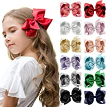 DEEKA Glitter Grosgrain Ribbon Hair Bow Alligator Clips for Little Girls
