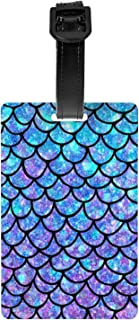 Purples Blues Mermaid Scales Luggage Tag PVC Travel Bag Case Label Backpack Name Tag for Kids Women Men
