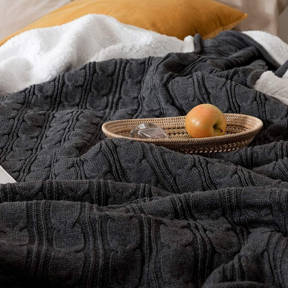 couverture WYDONG Tricotées, Cachemire, De Sieste, Courtepointes Épaisses d'hiver, Utilisées sur Les Canapés, Les Lits, Double Couche Chaude 150 × 200cm (Color : Red) Dark Gray