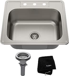 Kraus KTM25 25 inch Topmount Single Bowl 18 gauge Stainless Steel Kitchen Sink
