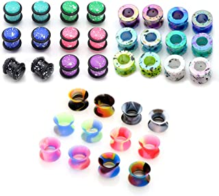36pcs Candy Colors Spots Acrylic Ear Stretching Plugs Kit and Double-Flared Thin Silicone Saddle Tunnels Set