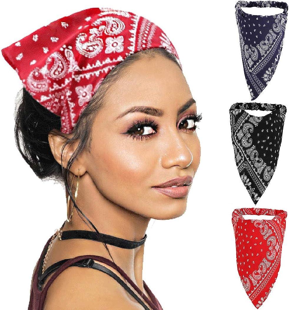 COSYOO 3PCS Bohemian Triangle Elastic Rubber Band Headband Hair Kerchief Vintage Triangle Boho Head Scarf
