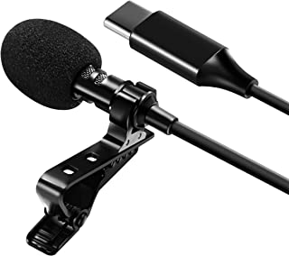 Professional USB-C Lavalier Lapel Microphone Omnidirectional Mic with Metal Clip for Recording YouTube Vlogging Video Conf...