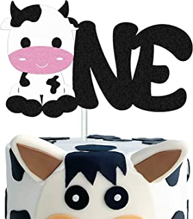Cow First Birthday Cake Topper Happy Birthday Cake Decorations for Cow Farm Zoo Animal Themed One Year Old 1ST Birthday Pa...
