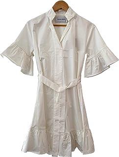 Silvian Heach PGP21334 Dress REMUSI - Abito Corto Donna Scollo a V con Colletto Camicia, Cintura in Vita e Balze su Manica...