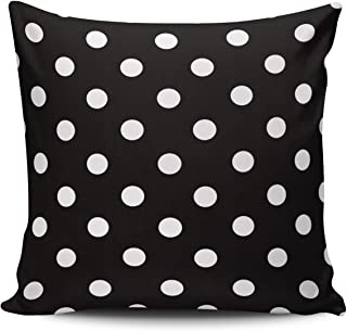 Hoooottle Custom Fancy Plush Black and White Polka Dot Euro Square Pillowcase Zippered One Side Printed 26x26 Inches Throw Pillow Case Cushion Cover
