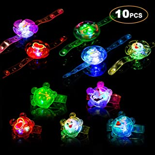Light Up Bracelet Party Favors 10 Pack LED Fidget Toys for Kids Prizes Glow in The Dark Hand Spin Stress Relief Anxiety Toys for Classroom Christmas Birthday Celebration New Year Eve Party Neon Suppl
