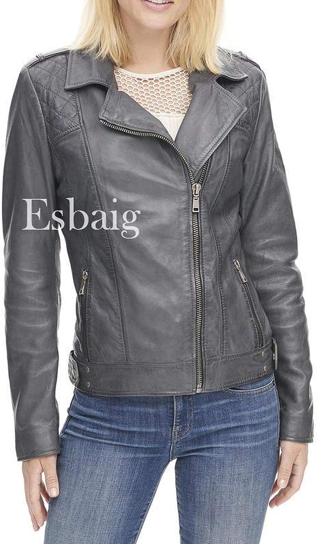 ESBAIG Womens Leather Jackets Stylish Motorcycle Bomber Biker Real Lambskin Leather Jacket for Women 557