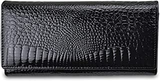 Alligator Womens Wallets Genuine Leather Ladies Clutch Coin Purses Hasp Luxury Patent Crocodile Female Long Wallet,Black With Box