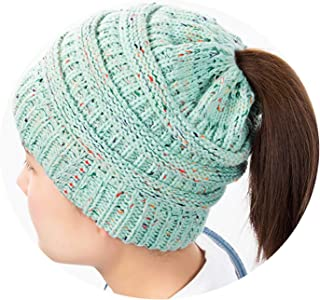 SexT Hats Ponytail Beanie Hat Women Winter Hat Crochet Knitted Cap Skullies Beanies Warm Caps Female Knitted Stylis