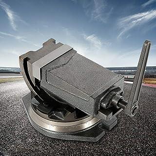 Amboss - Tornillo de banco de 2 ejes (125 mm, ancho de mordaza 0 ° - 90°, giratorio 360°)