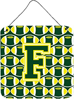 """Caroline's Treasures CJ1075-FDS66 Letter F Football Green and Yellow Wall or Door Hanging Prints, Multicolor, 6"""" H x 6"""" W"""